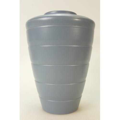 691 - Wedgwood ribbed vase in unusual grey/blue colourway designed by Keith Murray, height 19cm (unmarked)...