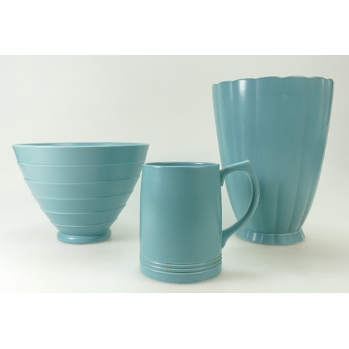 692 - Wedgwood ribbed vase in teal colourway designed by Keith Murray (underglaze and another chip to top ...