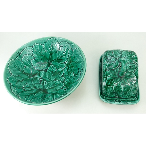 694 - Wedgwood Cabbageware large fruit bowl and butter dish and cover (2)...