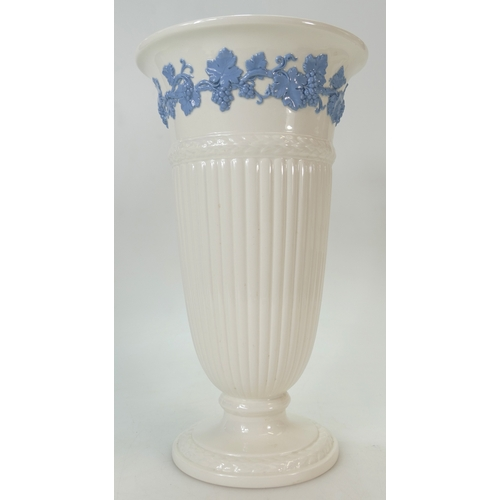 696 - Wedgwood large Queensware vase, height 33cm and Wedgwood Black Basalt vase, height 21cm (2)...