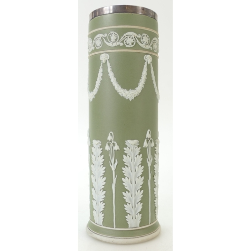 699 - Wedgwood sage green Jasper dip Acanthus Bell flower with Arabesque border cylindrical vase. Silver h...