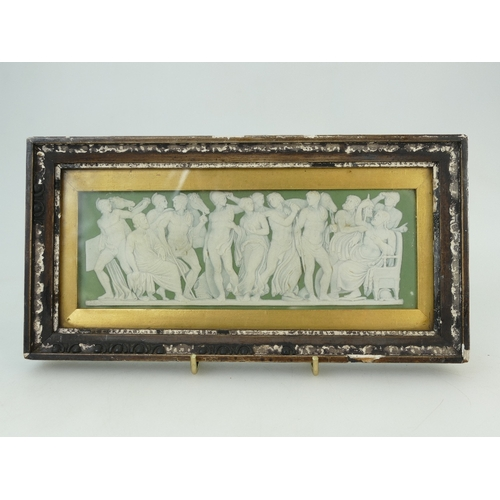 701 - 19th Century Wedgwood green dip Jasperware rectangular shaped plaque with applied white relief depic...