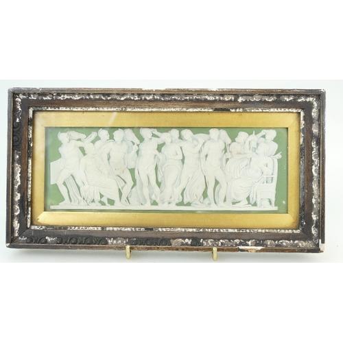 702 - 19th Century Wedgwood green dip Jasperware rectangular shaped plaque with applied white rare scene o...