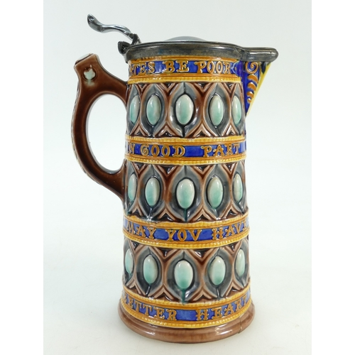 705 - Wedgwood 19th century Majolica Motto jug with pewter lid, height 19cm (crack across base)...