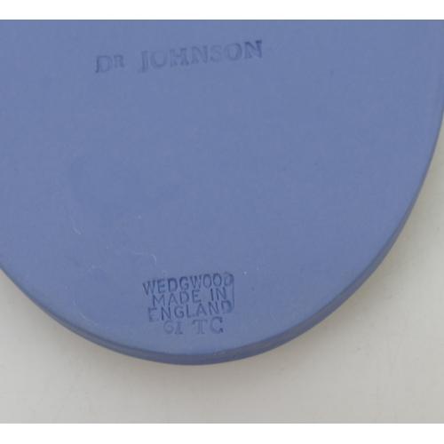 706 - Wedgwood Blue Jasper Portrait Medallion of Dr Samuel Johnson, circa 1961. Boxed. 11cm...