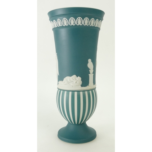 713 - A prestige Wedgwood Teal Green Jasper Dip Striped Engine Turned Lovers Vase. Boxed. 24 cm in height....
