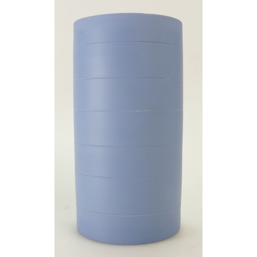 716 - A large Wedgwood Keith Murray style Blue Jasper Ribbed Vase. Hand Thrown. 20 cm in height....