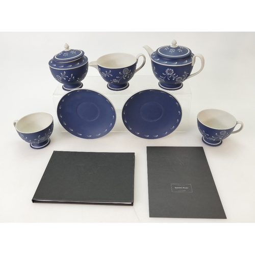 720 - A prestige Wedgwood Sgraffito and Pate sur Pate Teaset in Dark Blue Jasper Dip in the manner of Harr...