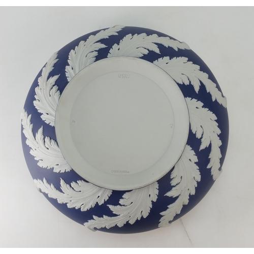 723 - A prestige Wedgwood Portland Blue Jasper Dip 'Swaying Acanthus' Bowl. Diameter 26cm and 11.5cm in he...