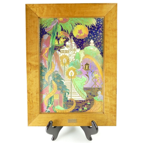 728 - A prestige Wedgwood Fairyland Lustre 'The Enchanted Palace' Rectangular Plaque in a quality gilt woo...