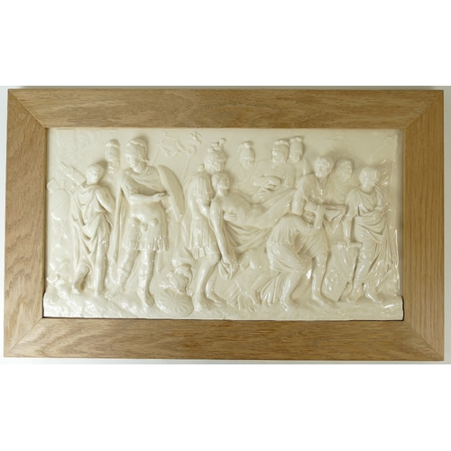 734 - Wedgwood prestige large plaque from the Genius collection ''Death of a Roman Soldier'' in wood frame...