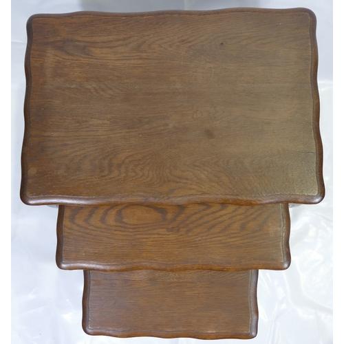 760 - 20th Century Oak Nest of 3 Tables (52cm Tall x 35cm Depth x 51cm Width)...