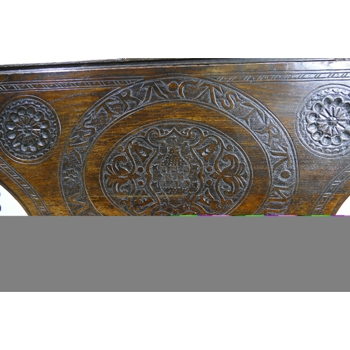 762 - Early carved oak shaped Drop Leaf Hall Table on bobbin twist supports, with a single drawer, and a l...