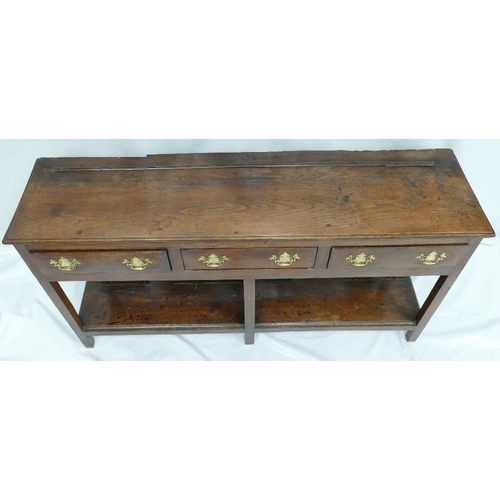 768 - Early 20th Century Oak Welsh Dresser Base with 3 Drawers (163cm Width x 43cm Depth x 81cm Height)...