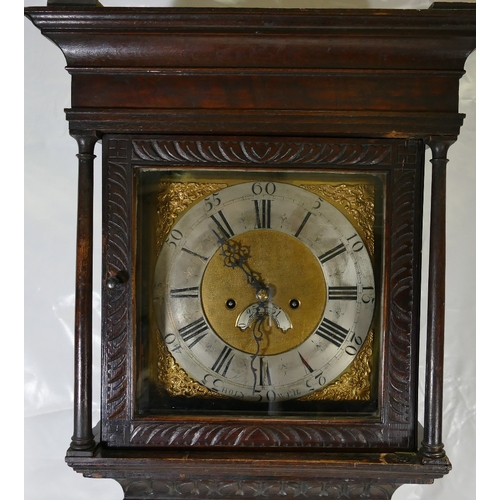 770 - Early 20th Century 8 Day Oak Grandfather Clock, with later carvings, and a squared brass dial marked...