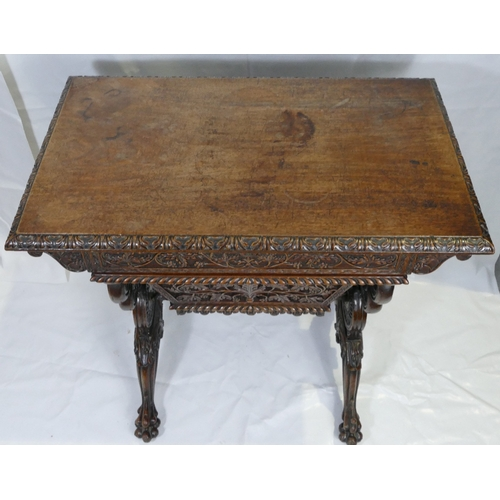 770A - 19th Century Carved Oak Ornate Sewing Table....