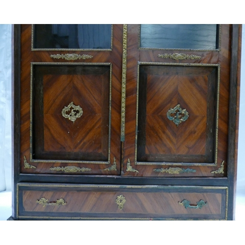 783 - 19th century French Kingswood inlaid vitrine, with brass ormolu mounts, width 80 x height 160cm...