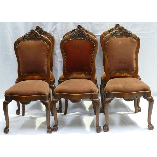784 - Victorian Set of 6 carved Oak high back Dining Chairs (6)...