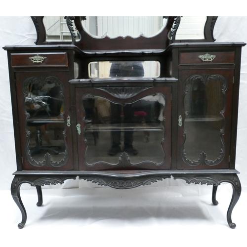 784A - Edwardian Ebonised Mahogany Mirror Backed Chiffonier (134cm Width x 232cm Tall x 40cm Depth)....