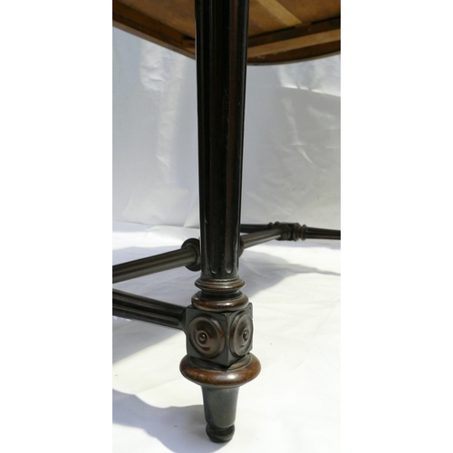 789 - 19th French Ebonised shaped side table, with leather top and draw, length 110cm...