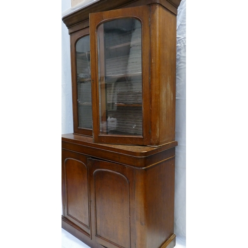 790 - Victorian Oak two door bookcase with glazed top (some veneer missing), width 120 x h225cm...