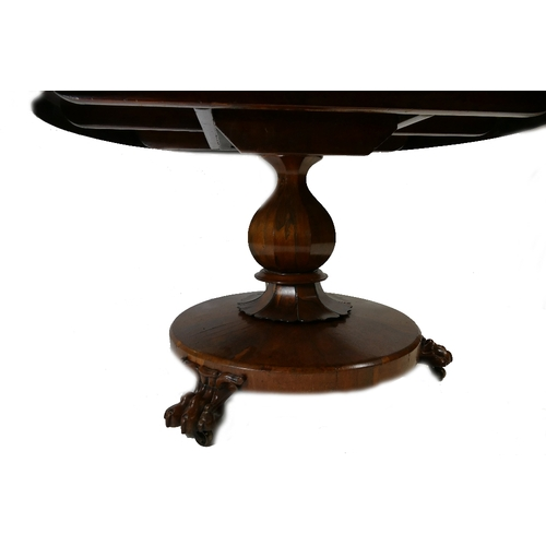 792 - Victorian Rosewood Round Loo table, with tapered column on platform with carved claw feet (130cm dia...