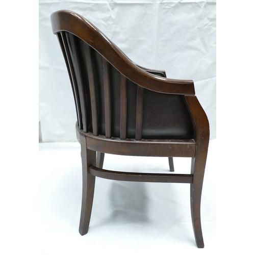 793 - Oak framed Victorian Club chair, with dark brown leather (80cm Tall x 57cm Width x 45cm Depth)...