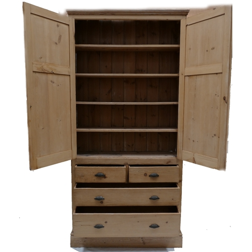 794 - Victorian Pine House Keepers Cupboard, with a 2 over 2 base and a 2 door cupboard (260cm Tall x 127c...