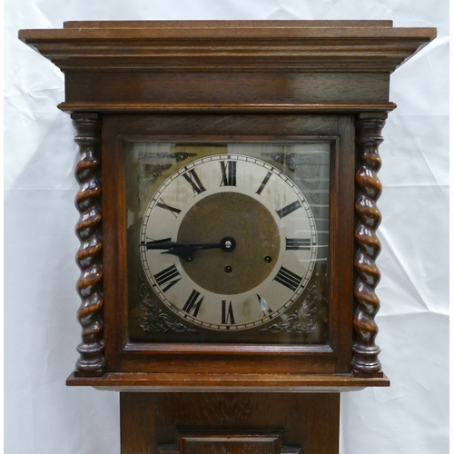 801 - 1920s Barley Twist oak cased grandmother clock with brass dial and Westminister chime, height 188cm...