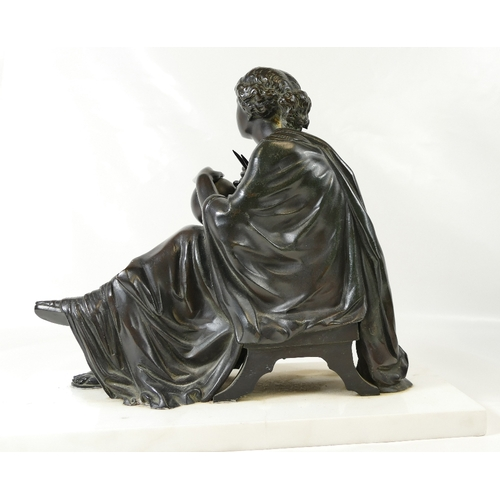 814 - Early 20th Century unsigned classical theme bronze of seated lady with Globe and Caliper, set on mar...