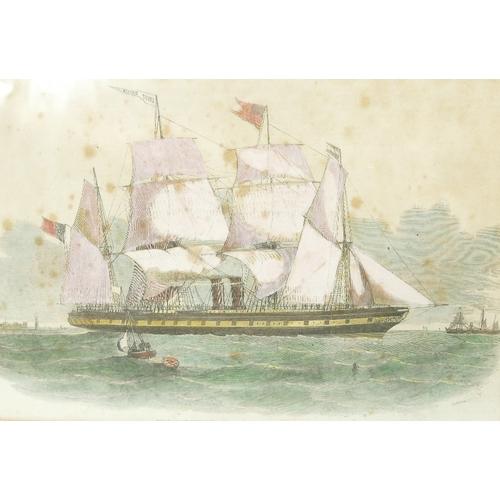 823 - Pair of Marine / Maritime framed prints - Actual prints measuring 15.5cm x 23.5cm. Printed in 1852, ...