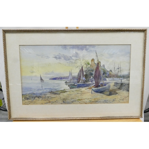 826 - Joseph Hughes Clayton - Watercolour, coastal scene 25cm x 45cm.  Signed J Hughes Clayton....