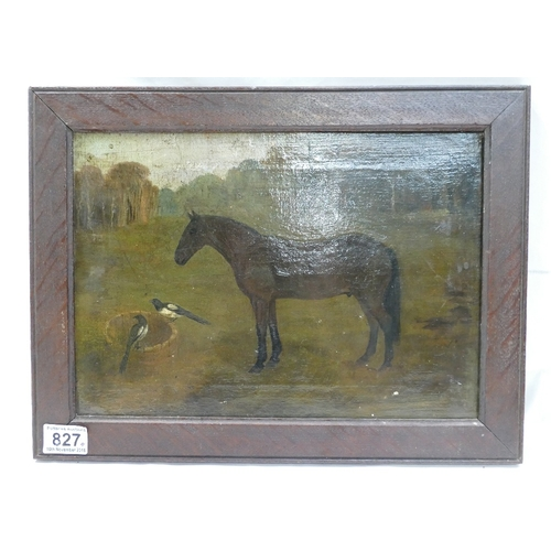 827 - Primitive Oil on canvas titled Mothers Pony by Brian Buller dated 1903, 42 x 32cm...