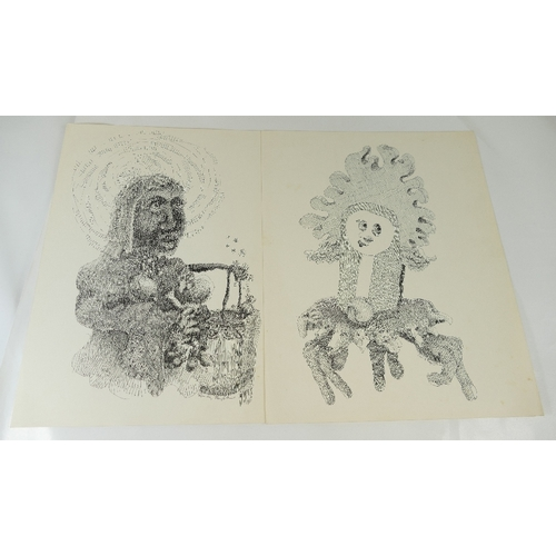 831 - Two unmounted mid century prints by Randy/ David Taylor, one titled Suicide Due to the Changing Mome...