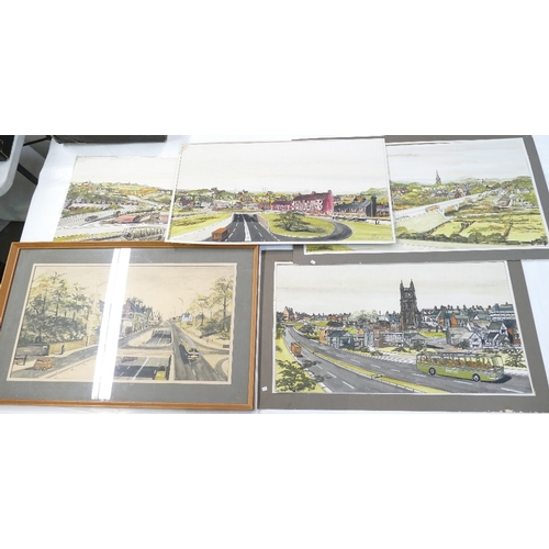 834 - 5 local interest pen and paint watercolours, done for Newcastle under Lyme council, Architect impres...