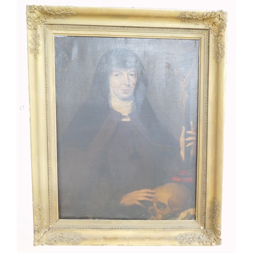 837 - A 19th century gilt framed oil painting on canvas. A nun with a human skull, a figure of christ on t...