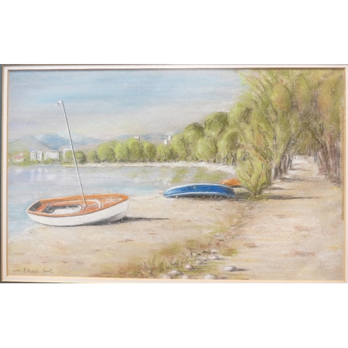 840 - Hilda Smith local artist watercolour of shore line scene 48cm 63cm...