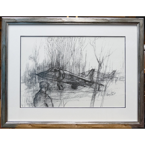 841 - Harry Smith R.I local artist pen drawing titled Harriers 53cm x 68cm...