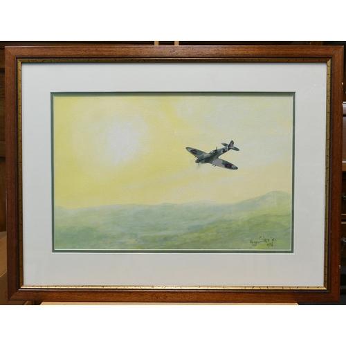 842 - Harry Smith R.I local artist Acrylics on Paper Beware the Hun in the Sun 55cm x 72cm...