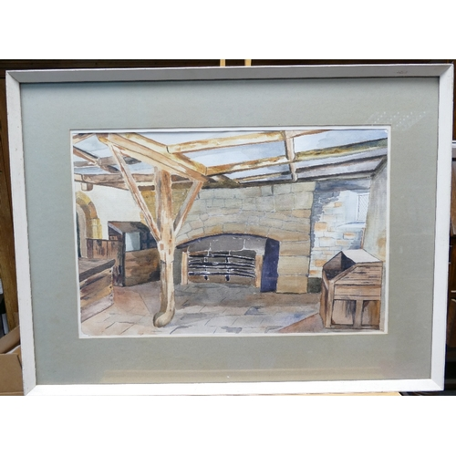 843 - Hilda Smith local artist watercolour titled Kitchen at Haddon Hall 56cm x 74cm...