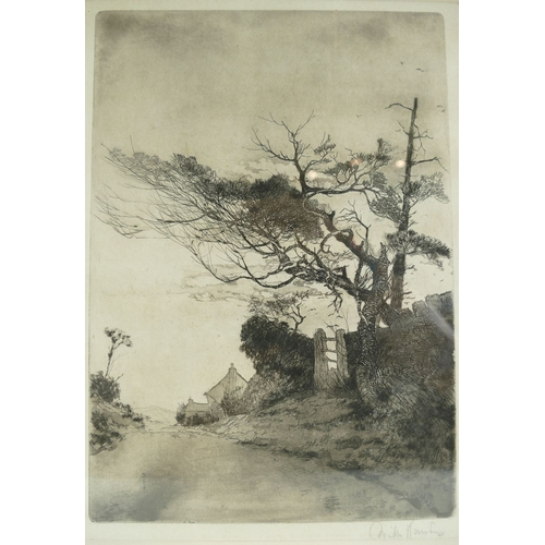845 - Original limited edition etching titled 'A Windswept Lane' by Willie Rawson. 47cm x 36cm...