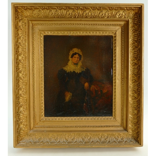 846 - Early oil on board portrait in substantial mount / frame. 38cm x 42cm....