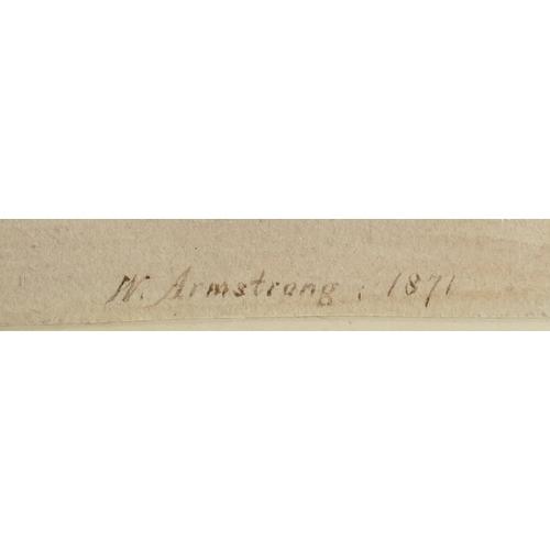 847 - Large framed watercolour of shoreside scene, signed M Armstrong 1871. 60cm x 42cm...