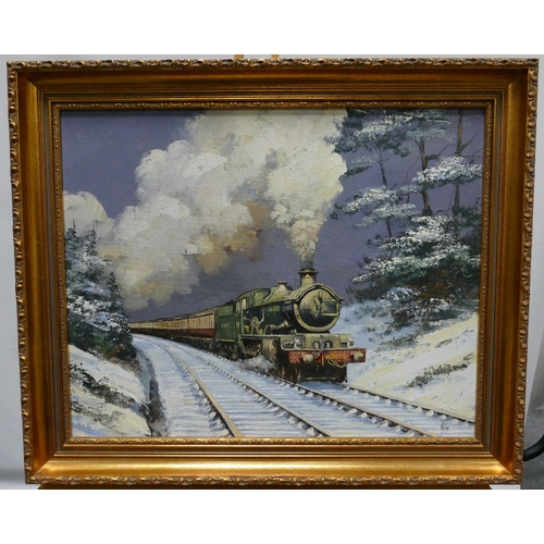 849 - Alan King of Malvern - Signed Akin (his usual signature) Oil on board titled 'Snow Castle' Great Wes...