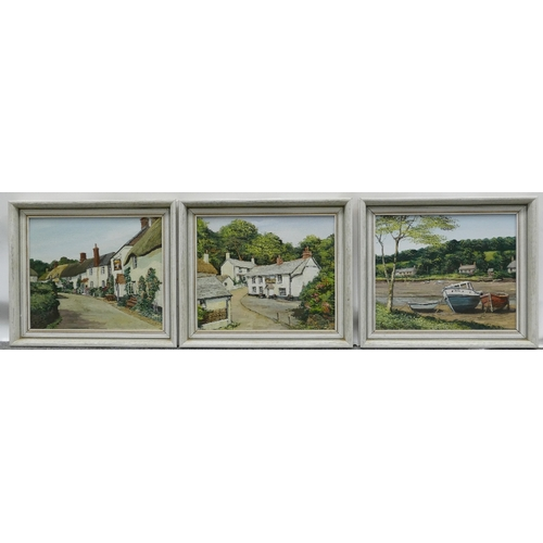 852 - Group of 3 oil paintings by Alan King of Malvern - Signed Akin (his usual signature). Oil on board, ...
