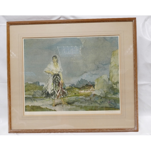 857 - SIR WILLIAM RUSSELL FLINT large signed print in frame with Print Sellers stamp. 44cm x 57cm depictin...