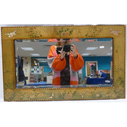 859 - Decorative Arts rectangular inlaid and hand floral painted frame inlaid with mother of pearl birds 4...