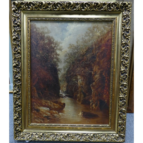 861 - Oil on canvas - signed painting by Thomas Morris Ash entitled 'Fairy Glen - North Wales' Betws - y -...