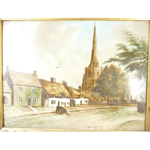 868 - Local interest framed porcelain tile with landscape view of Wolstanton in 1791 signed J. Williams in...