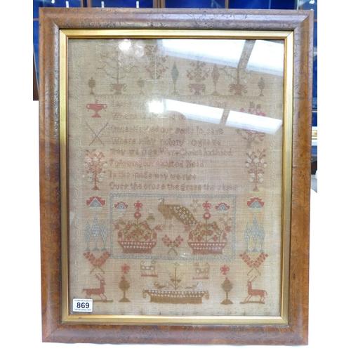 869 - 19th century Tapestry / Sampler featuring poem, trees, peacock, deer, birds, plants etc.  53.5 x 41c...